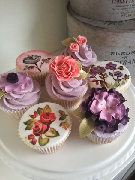 Hand painted and sugar flowers