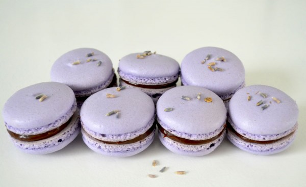 Macarons Lavender with chocolate ganache