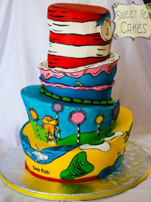 Dr. Seuss Birthday By SweetPea0613Four tier topsy turvy Dr. Seuss themed cake. Bottom three tiers are buttercream and hat is fondant. This has to be one of my favorite cakes that I've made! I love it so much!