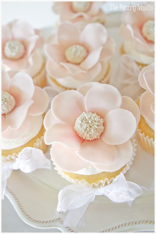Floral Pearl Centered Cupcakes