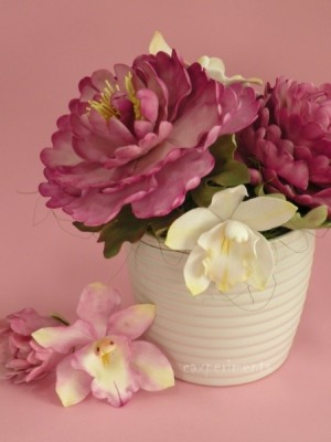 Peonies and orchid