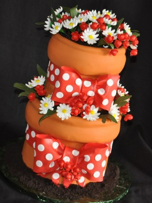 Red and White flower pot cake