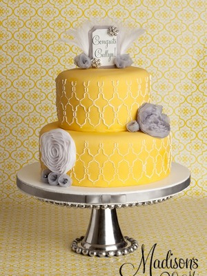 Yellow and gray with modern design....