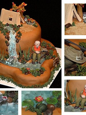 By CakeInfatuationWhew!!! So glad this is done and I'm thrilled with how it turned out. My best friend asked me to make a cake for her father-in-law's Birthday. He's a hunter so we worked out an outdoors theme. I really did things differently with this one but it was a great learning experience. I have to thank my husband for helping me carve the cake, make the rifle, and sculpt the big mouth bass. Other than the grass, all the decorations are fondant/gum paste. The fishing pole and the cat tails are toothpicks.