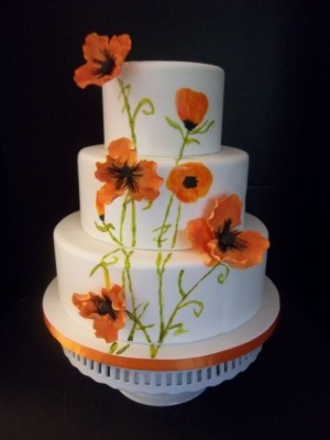 Orange Poppy Wedding Cake