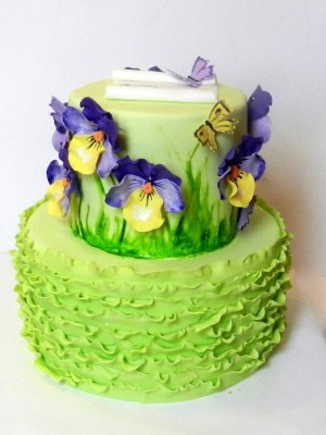 pansies mother's  day cake
