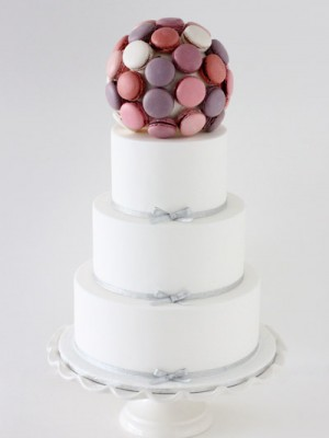 White and Silver with Berry Macaron Ball