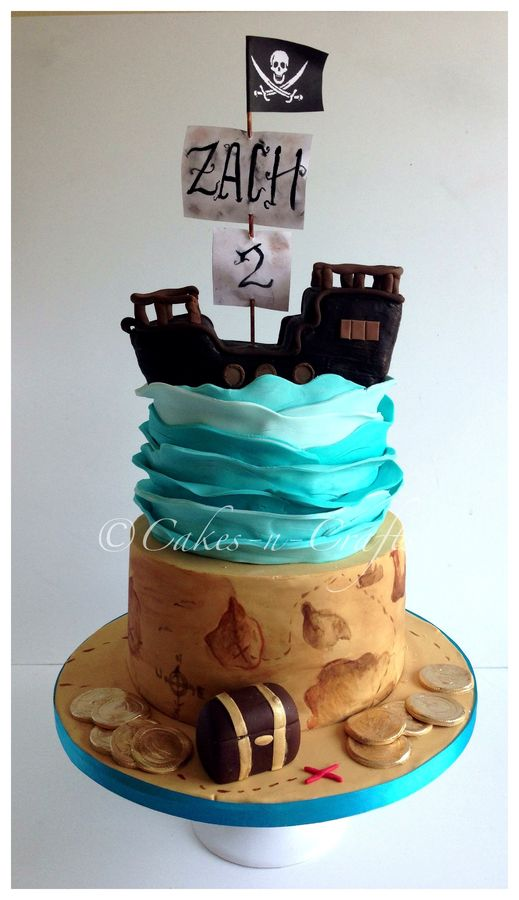 2 tier pirate cake with edible pirate ship