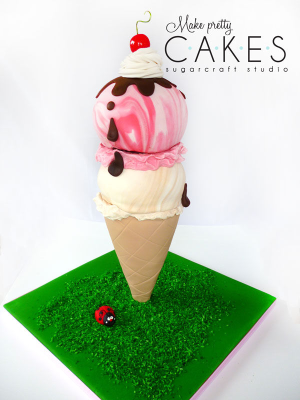 3D Ice Cream cone cake - two scoops!