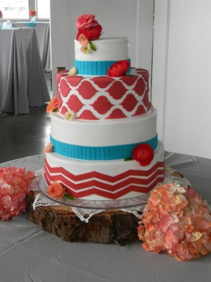 Mixed Pattern Wedding Cake