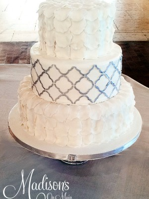 Silver and white with quatrefoil pattern.....
