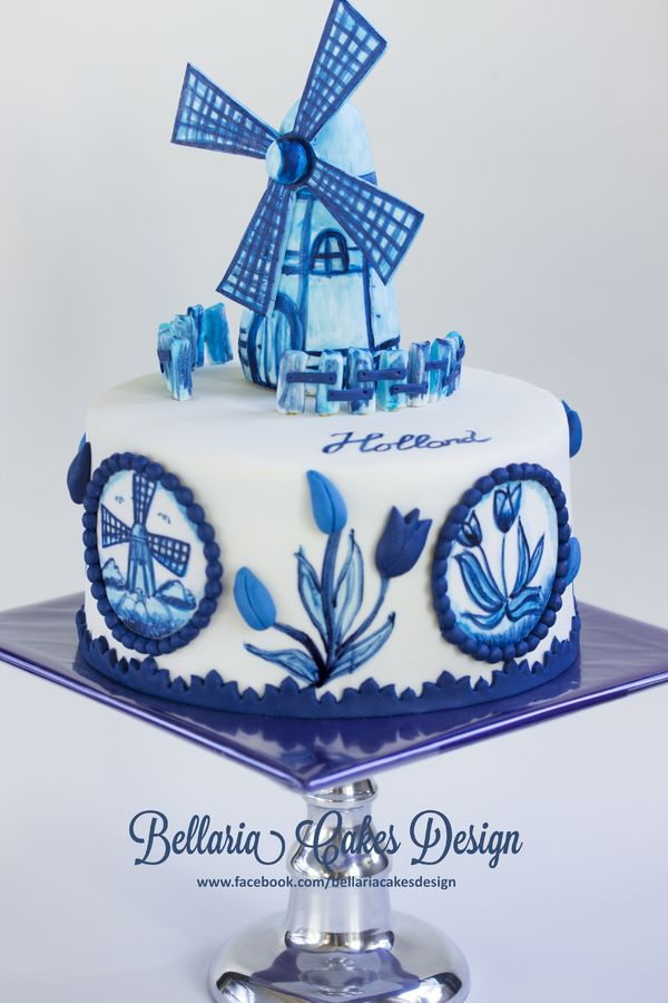 Hand painted Delft blue (delftware) cake.