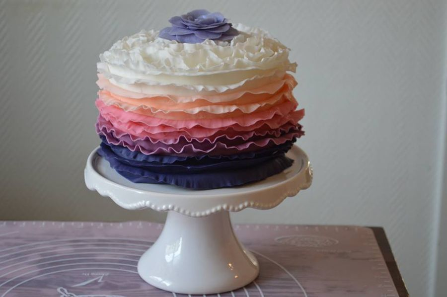 Ombre Ruffles Cake