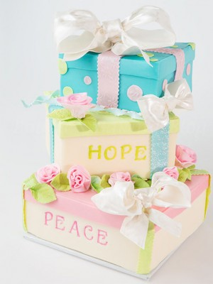 Gift Box Cake filled with Peace & Hope for 2013