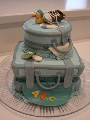 Luggage Themed Baby Shower Cake