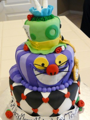 3 tiered Alice in Wonderland themed cake