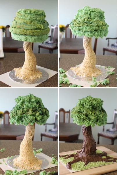 Sculpted tree cake tutorial cakecentral while the cakes were baking and cooling i made some rice krispie treats by simply stirring the cereal into melted marshmallows then with wet hands ccuart Image collections