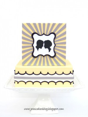 Vintage Stripe and Silhouette Cake