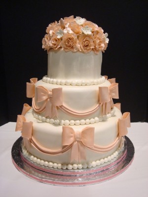 Wedding Cake with Pink Roses & Bows