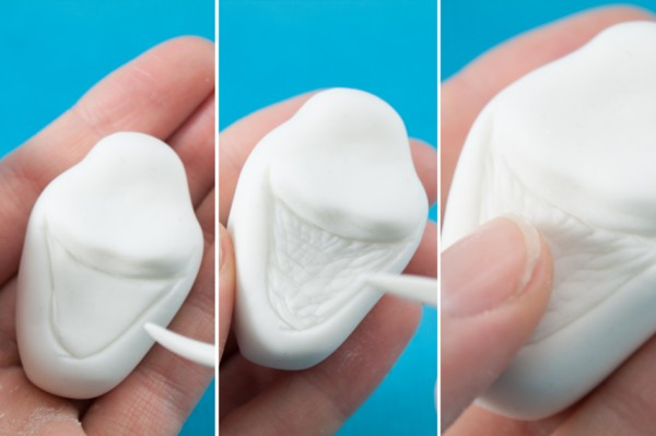 Mark the mouth with the small side of the flower leaf shaper tool