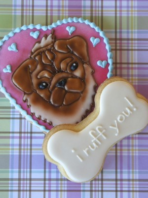 "Cute dog cookie for Valentine's day ""I ruff you"""
