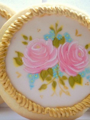 Hand painted roses cookies