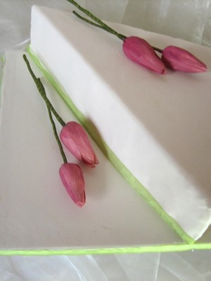 Sugarpaste pink tulips on special shaped cake