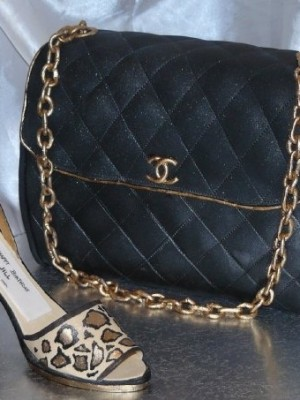 chanel purse and leopard heel