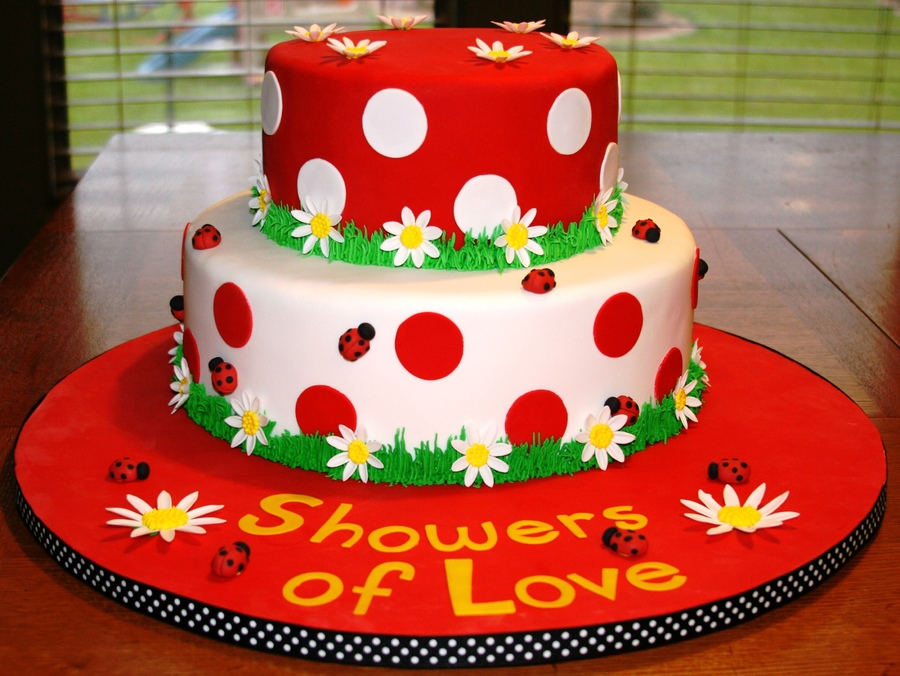 ladybug baby shower cake by katiescakesaz two tiered fondant cake