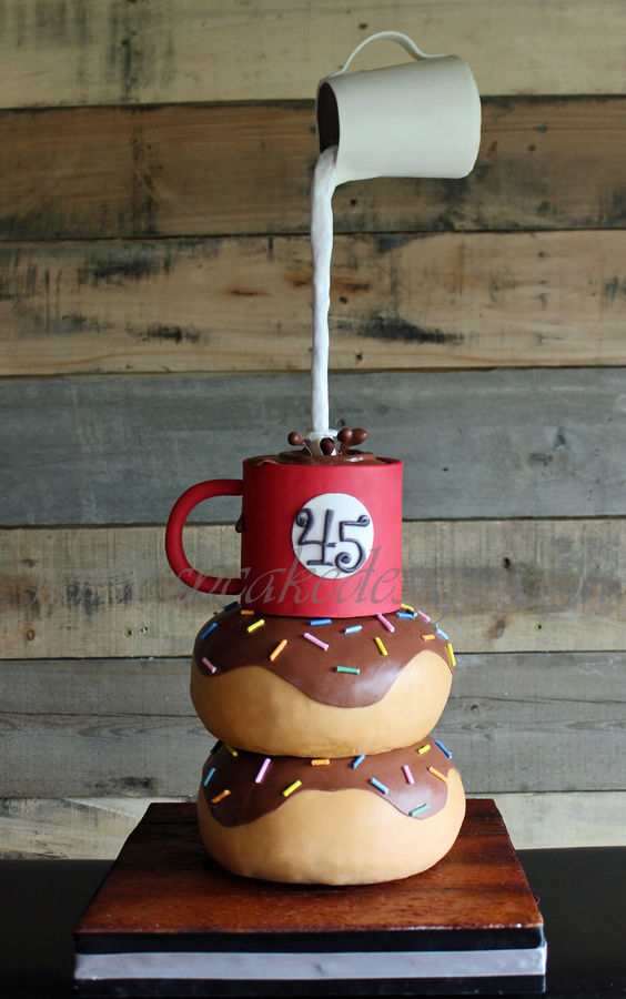 Gravity Defying Coffee & Donut Cake