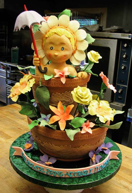 Step-By-Step 3D Cake Sculpting (Baby in a Flower Pot ...