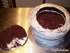 Instructions for making a topsy turvy cake
