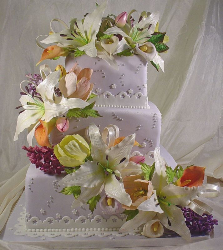 square wedding cakes with flowers. Cake Gallery   Wedding Cakes