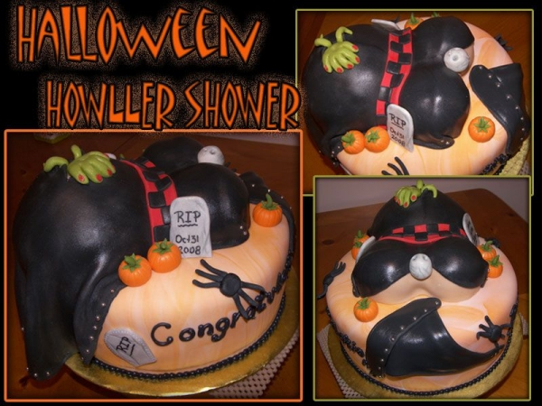 ghouly gorey baby shower cake halloween themed baby shower