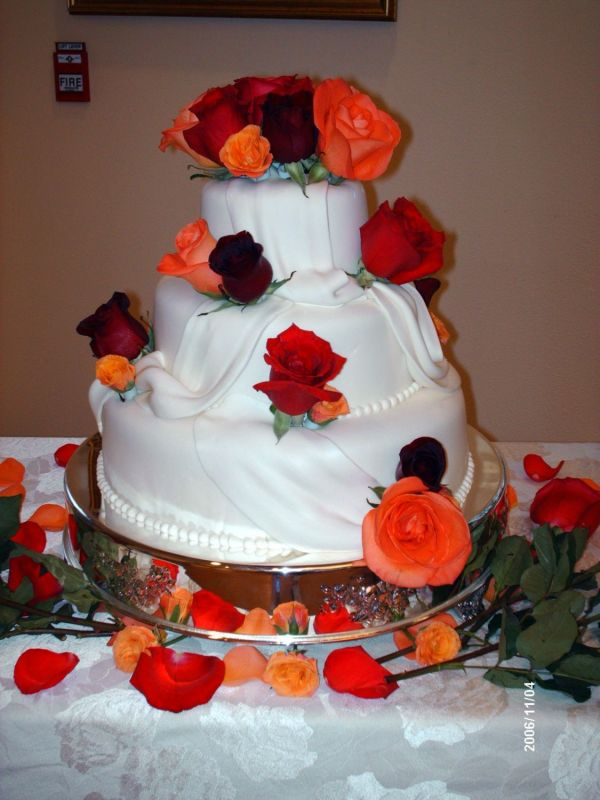 Red And Orange Wedding Cakes