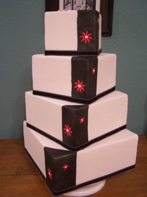black and white wedding with red. Black, white red wedding cake