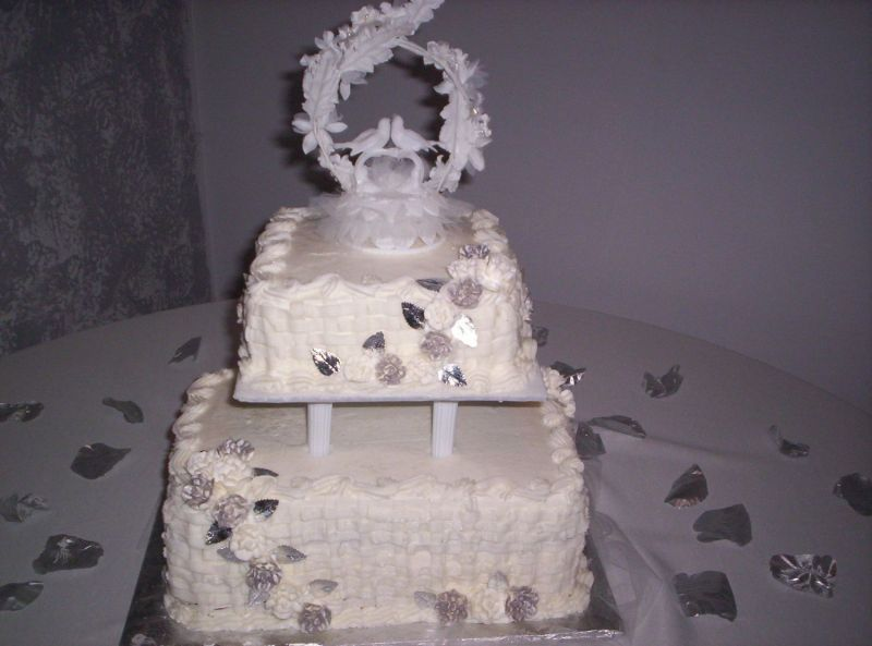 2 Tier Basketweave Silver and White Wedding Cake Uploaded By cupcake cutie