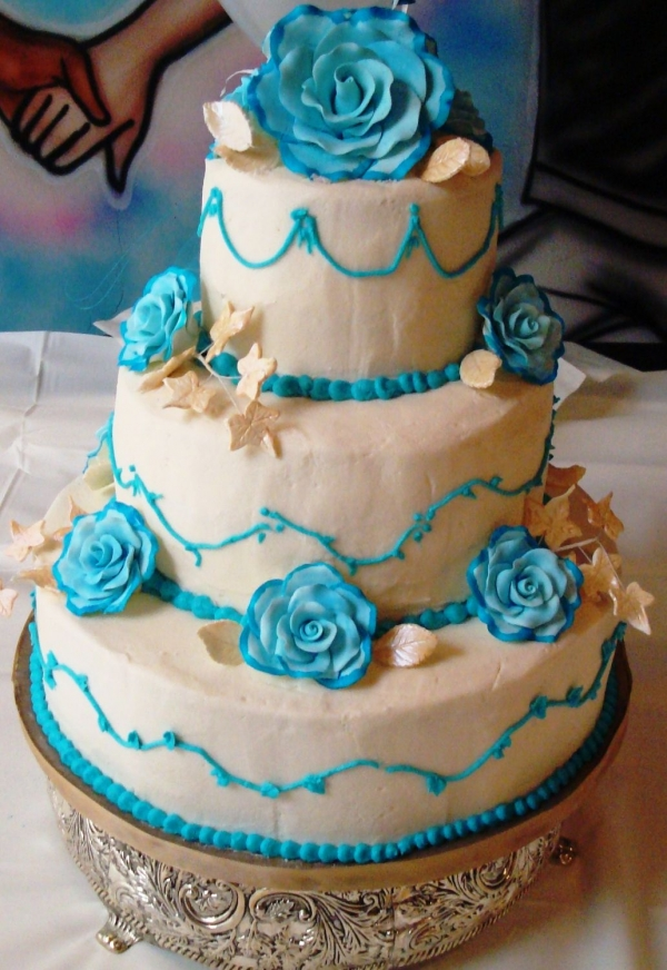 Teal and cream wedding cake By TToomer
