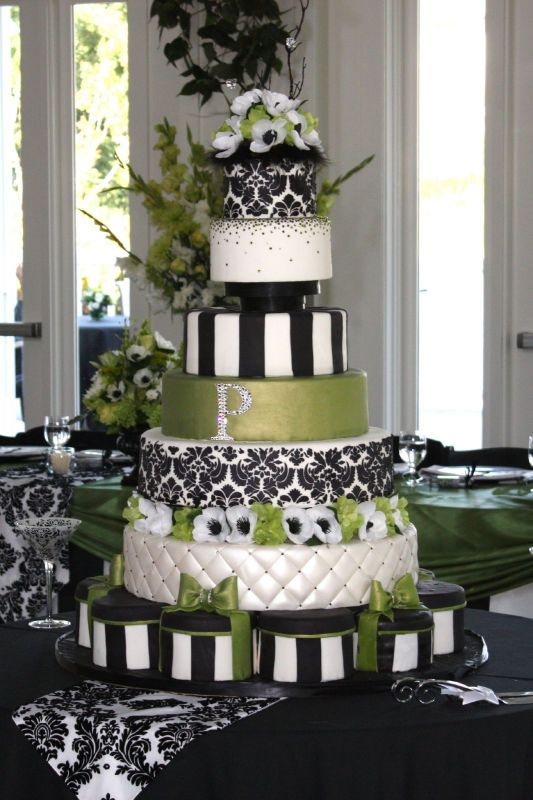 Pretty Black and White and Green Wedding Cakes