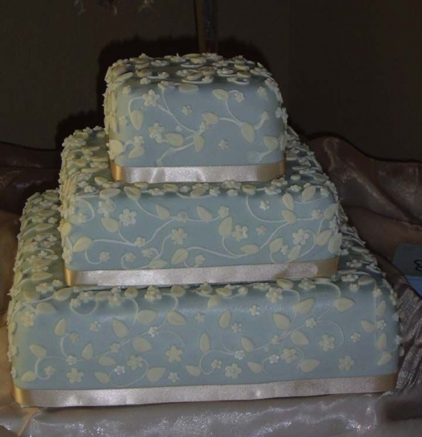 Blue and Tan Wedding By AlamoSweets This cake had over 600 2 sizes of