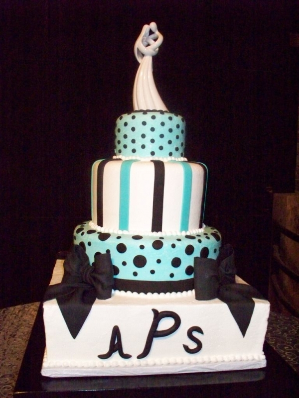 Turquoise Black and White Wedding By toshaw Another cake done jointly