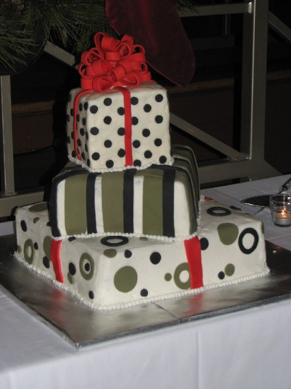 Cake for a Christmas wedding Frosted in butter cream decorated with