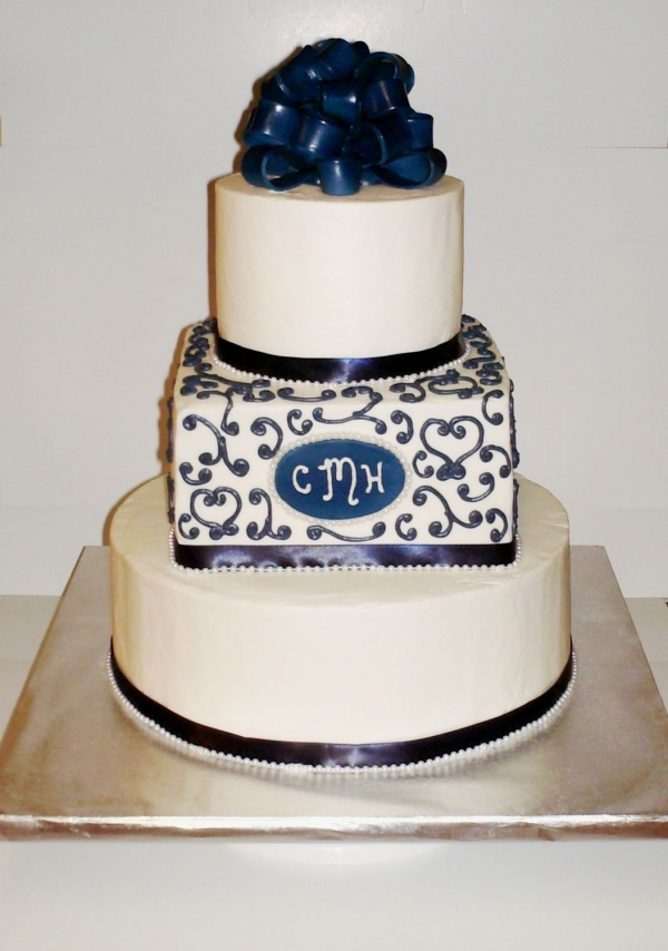 Wedding Cake Marine Blue and White By shantel575