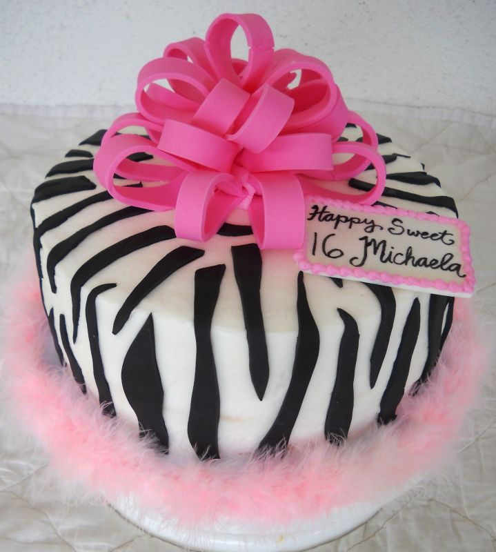 Sweet 16 Zebra Birthday Cakes
