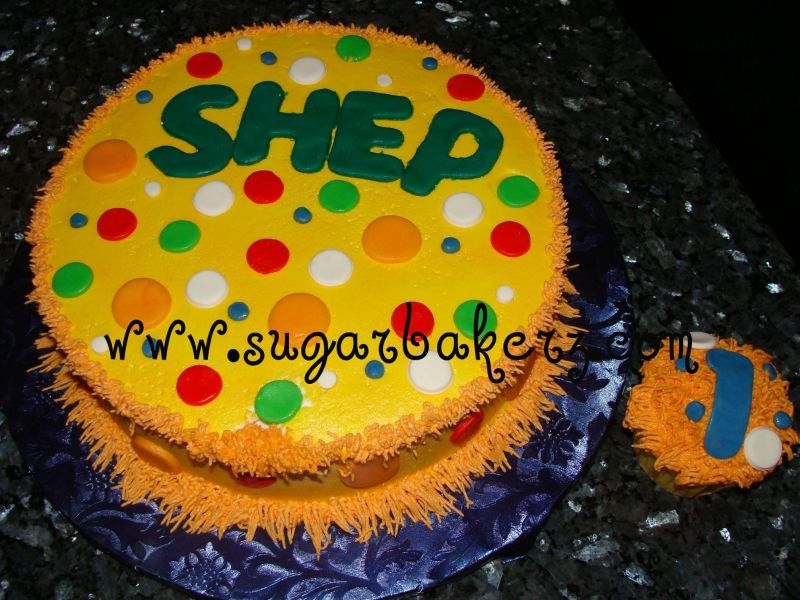 "I have since done 3 more of this design. Cake is a 9"" round iced in BC and"