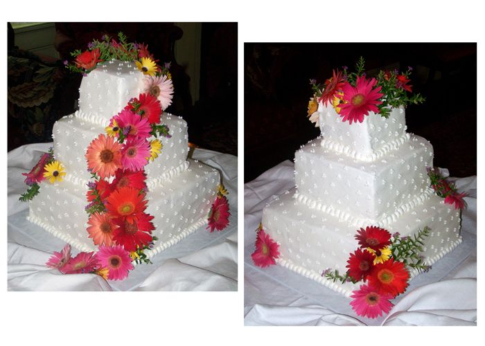 Just made this Gerbera Daisy Wedding Cake this past weekend. It was fun!