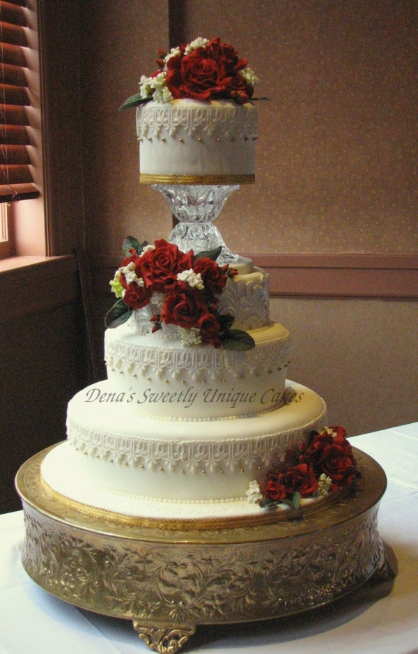 Red Rose and Lace Wedding Cake By DenaB