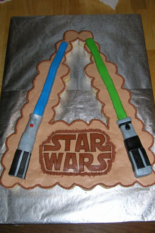 Buttercream frosting, MMF lightsabers, and FBCT star wars logo.