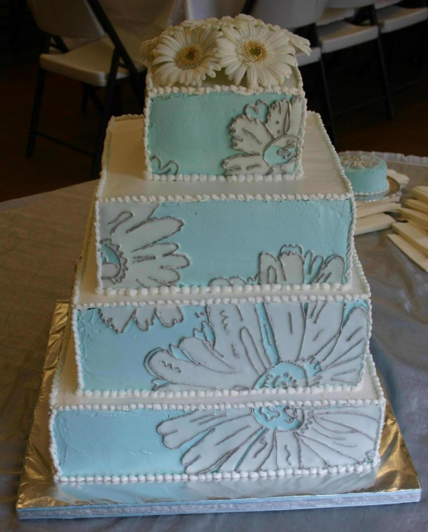 Bride's colors were teal and silver
