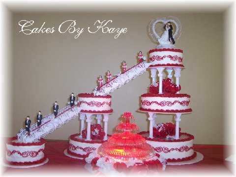 Red And White Fountain Wedding Cakes